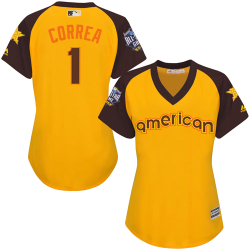Women's Majestic Houston Astros #1 Carlos Correa Authentic Yellow 2016 All-Star American League BP Cool Base MLB Jersey