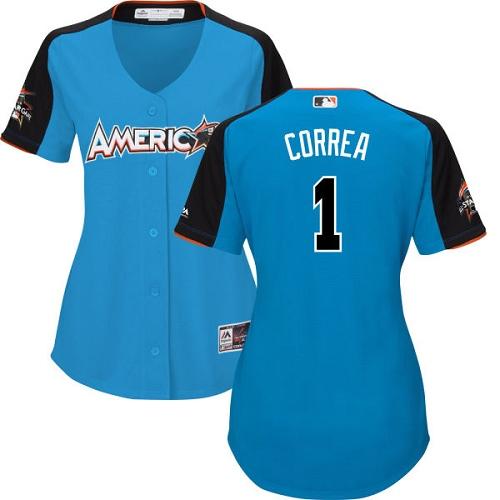 Women's Majestic Houston Astros #1 Carlos Correa Replica Blue American League 2017 MLB All-Star MLB Jersey
