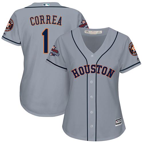 Women's Majestic Houston Astros #1 Carlos Correa Replica Grey Road 2017 World Series Champions Cool Base MLB Jersey