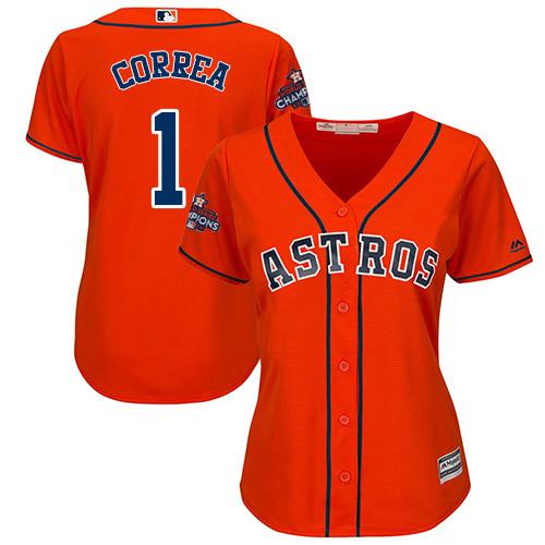 Women's Majestic Houston Astros #1 Carlos Correa Replica Orange Alternate 2017 World Series Champions Cool Base MLB Jersey