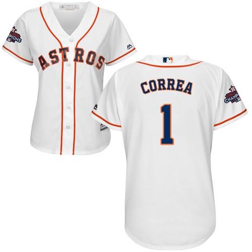 Women's Majestic Houston Astros #1 Carlos Correa Replica White Home 2017 World Series Champions Cool Base MLB Jersey