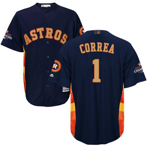 Youth Majestic Houston Astros #1 Carlos Correa Authentic Navy Blue Alternate 2018 Gold Program Cool Base MLB Jersey