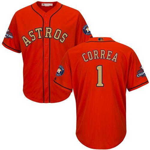 Youth Majestic Houston Astros #1 Carlos Correa Authentic Orange Alternate 2018 Gold Program Cool Base MLB Jersey