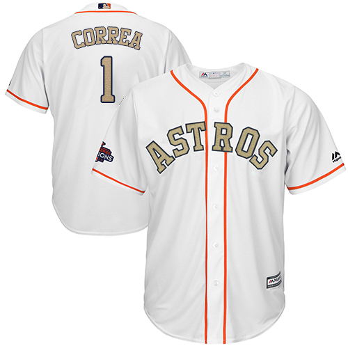 Youth Majestic Houston Astros #1 Carlos Correa Authentic White 2018 Gold Program Cool Base MLB Jersey