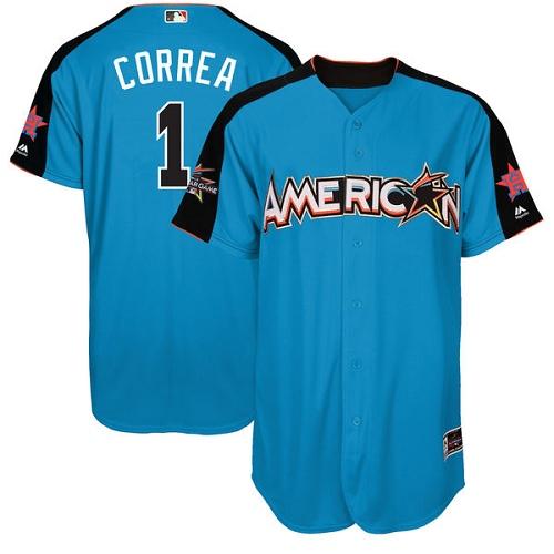 Youth Majestic Houston Astros #1 Carlos Correa Replica Blue American League 2017 MLB All-Star MLB Jersey