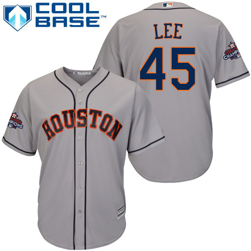 Men's Majestic Houston Astros #45 Carlos Lee Replica Grey Road 2017 World Series Champions Cool Base MLB Jersey