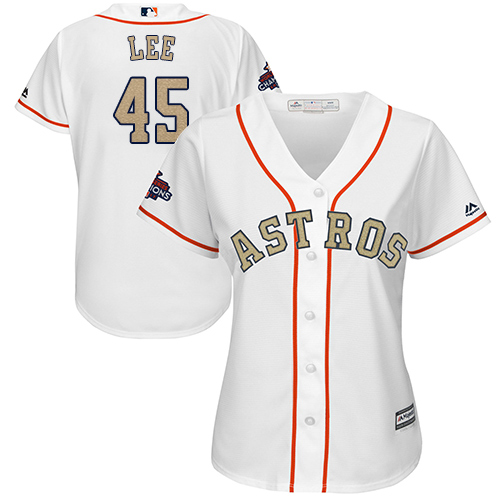 Women's Majestic Houston Astros #45 Carlos Lee Authentic White 2018 Gold Program Cool Base MLB Jersey