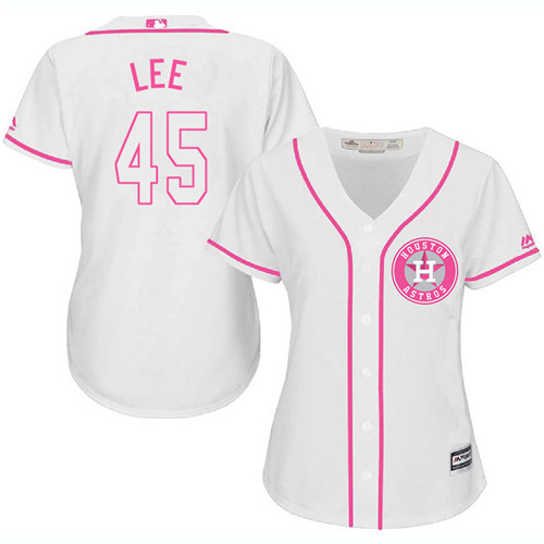 Women's Majestic Houston Astros #45 Carlos Lee Authentic White Fashion Cool Base MLB Jersey