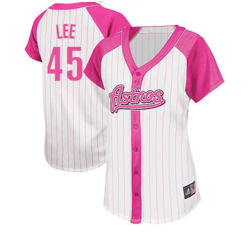 Women's Majestic Houston Astros #45 Carlos Lee Replica White/Pink Splash Fashion MLB Jersey
