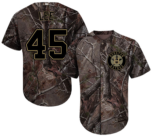 Youth Majestic Houston Astros #45 Carlos Lee Authentic Camo Realtree Collection Flex Base MLB Jersey