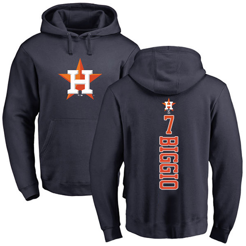 MLB Nike Houston Astros #7 Craig Biggio Navy Blue Backer Pullover Hoodie