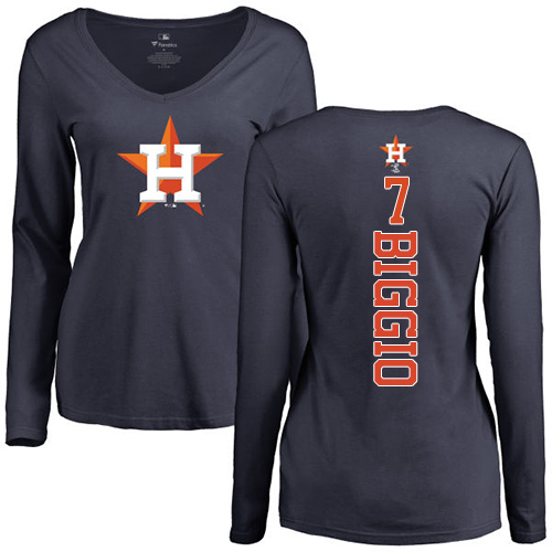 MLB Women's Nike Houston Astros #7 Craig Biggio Navy Blue Backer Long Sleeve T-Shirt
