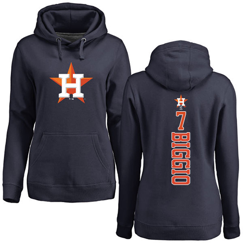 MLB Women's Nike Houston Astros #7 Craig Biggio Navy Blue Backer Pullover Hoodie
