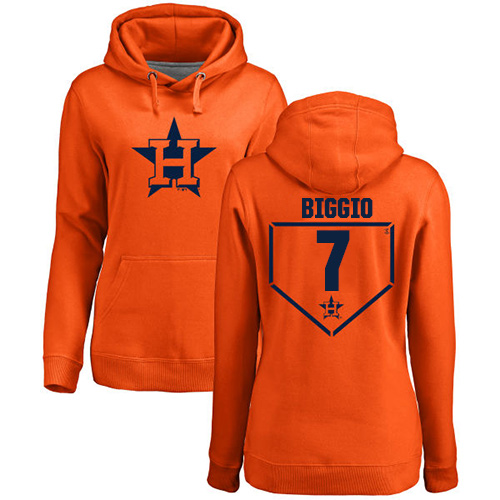 MLB Women's Nike Houston Astros #7 Craig Biggio Orange RBI Pullover Hoodie