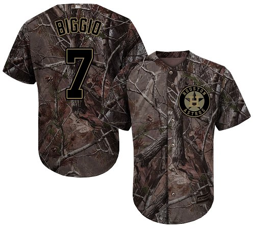 Men's Majestic Houston Astros #7 Craig Biggio Authentic Camo Realtree Collection Flex Base MLB Jersey
