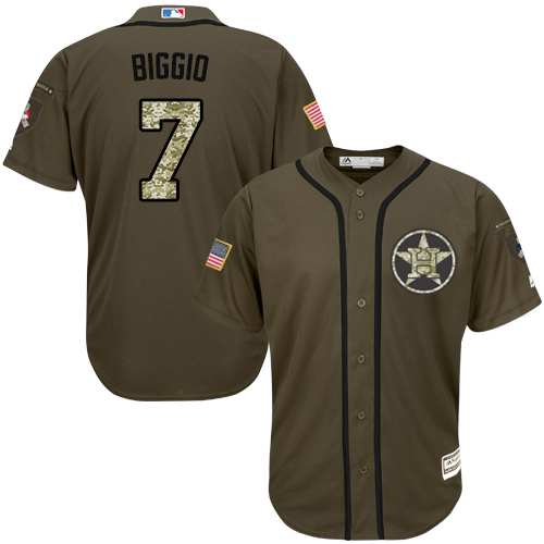 Men's Majestic Houston Astros #7 Craig Biggio Authentic Green Salute to Service MLB Jersey