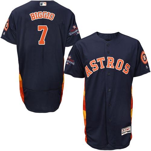 Men's Majestic Houston Astros #7 Craig Biggio Authentic Navy Blue Alternate 2017 World Series Champions Flex Base MLB Jersey