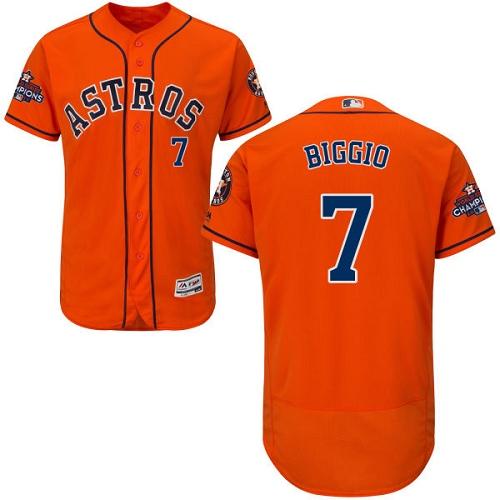 Men's Majestic Houston Astros #7 Craig Biggio Authentic Orange Alternate 2017 World Series Champions Flex Base MLB Jersey