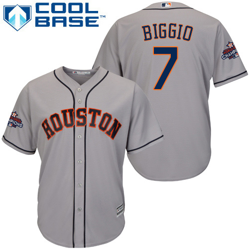 Men's Majestic Houston Astros #7 Craig Biggio Replica Grey Road 2017 World Series Champions Cool Base MLB Jersey