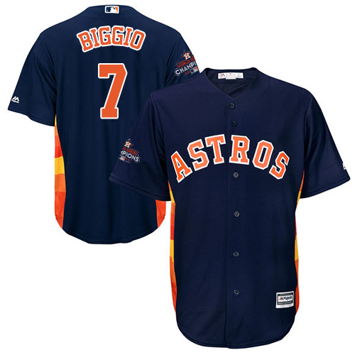 Men's Majestic Houston Astros #7 Craig Biggio Replica Navy Blue Alternate 2017 World Series Champions Cool Base MLB Jersey