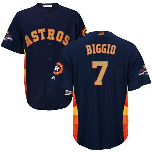 Men's Majestic Houston Astros #7 Craig Biggio Replica Navy Blue Alternate 2018 Gold Program Cool Base MLB Jersey
