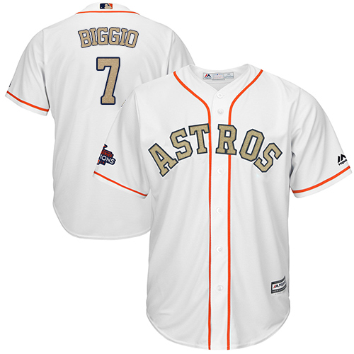 Men's Majestic Houston Astros #7 Craig Biggio Replica White 2018 Gold Program Cool Base MLB Jersey