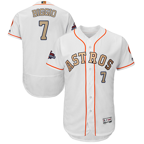 Men's Majestic Houston Astros #7 Craig Biggio White 2018 Gold Program Flex Base Authentic Collection MLB Jersey