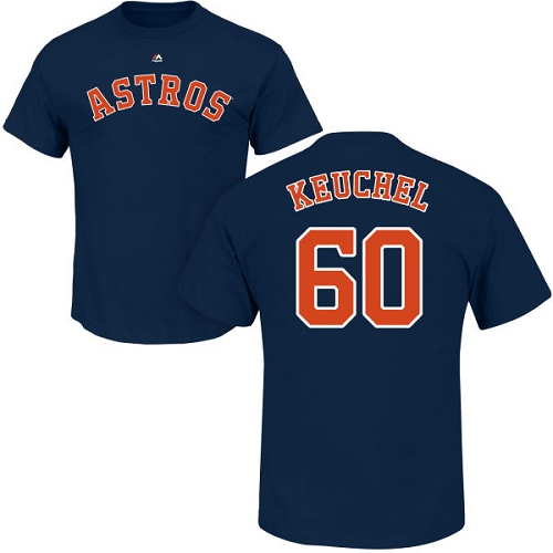 MLB Nike Houston Astros #60 Dallas Keuchel Navy Blue Name & Number T-Shirt