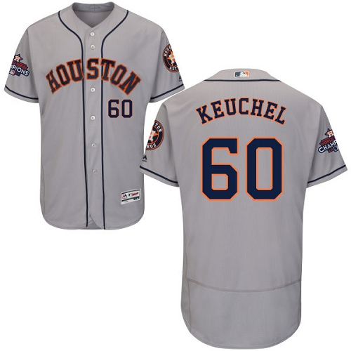 Men's Majestic Houston Astros #60 Dallas Keuchel Authentic Grey Road 2017 World Series Champions Flex Base MLB Jersey