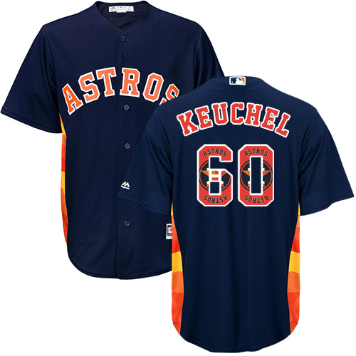 Men's Majestic Houston Astros #60 Dallas Keuchel Authentic Navy Blue Team Logo Fashion Cool Base MLB Jersey