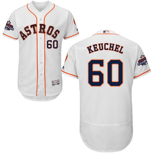 Men's Majestic Houston Astros #60 Dallas Keuchel Authentic White Home 2017 World Series Champions Flex Base MLB Jersey