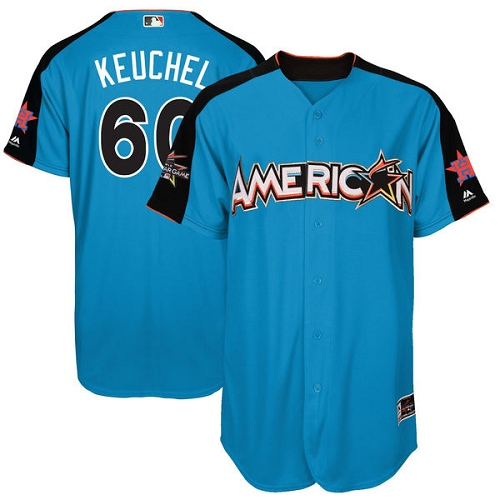 Men's Majestic Houston Astros #60 Dallas Keuchel Replica Blue American League 2017 MLB All-Star MLB Jersey
