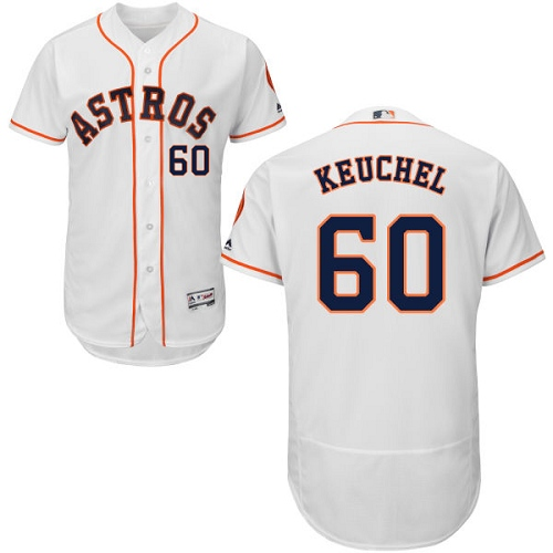 Men's Majestic Houston Astros #60 Dallas Keuchel White Home Flex Base Authentic Collection MLB Jersey