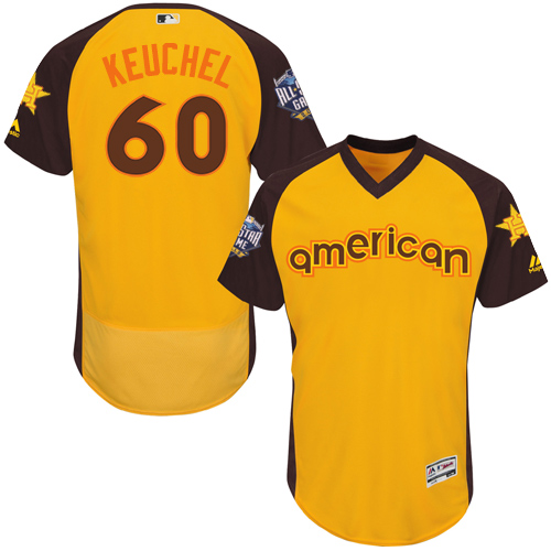 Men's Majestic Houston Astros #60 Dallas Keuchel Yellow 2016 All-Star American League BP Authentic Collection Flex Base MLB Jersey