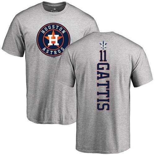 MLB Nike Houston Astros #11 Evan Gattis Ash Backer T-Shirt