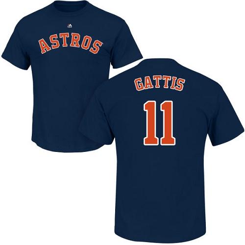 MLB Nike Houston Astros #11 Evan Gattis Navy Blue Name & Number T-Shirt