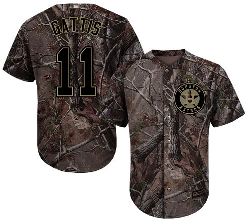 Men's Majestic Houston Astros #11 Evan Gattis Authentic Camo Realtree Collection Flex Base MLB Jersey