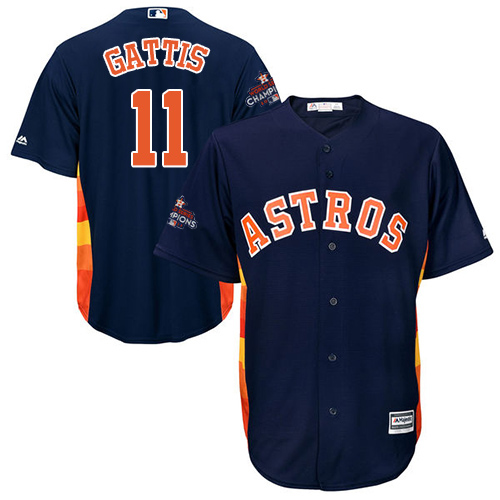 Men's Majestic Houston Astros #11 Evan Gattis Replica Navy Blue Alternate 2017 World Series Champions Cool Base MLB Jersey
