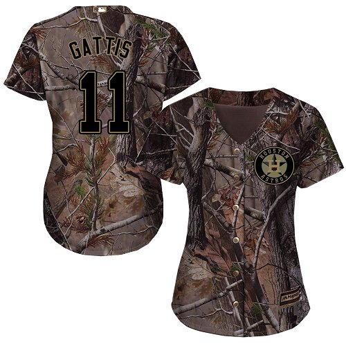 Women's Majestic Houston Astros #11 Evan Gattis Authentic Camo Realtree Collection Flex Base MLB Jersey