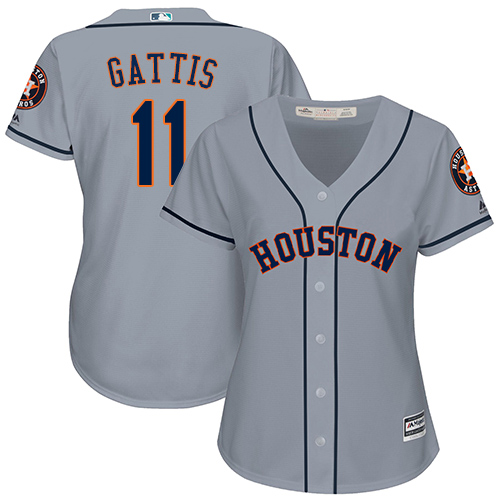 Women's Majestic Houston Astros #11 Evan Gattis Authentic Grey Road Cool Base MLB Jersey