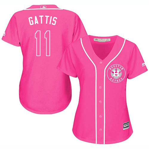 Women's Majestic Houston Astros #11 Evan Gattis Authentic Pink Fashion Cool Base MLB Jersey