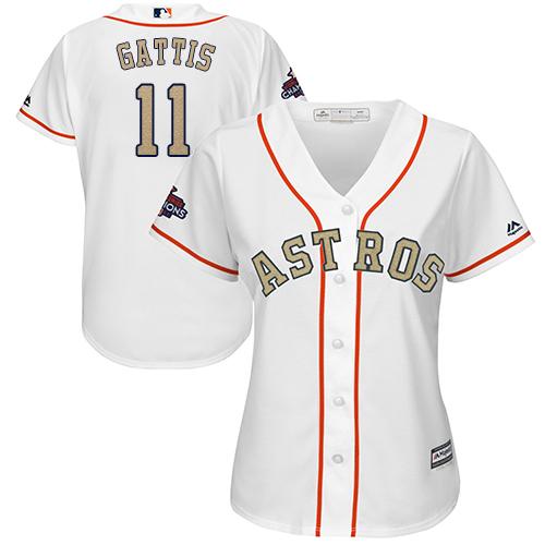 Women's Majestic Houston Astros #11 Evan Gattis Authentic White 2018 Gold Program Cool Base MLB Jersey