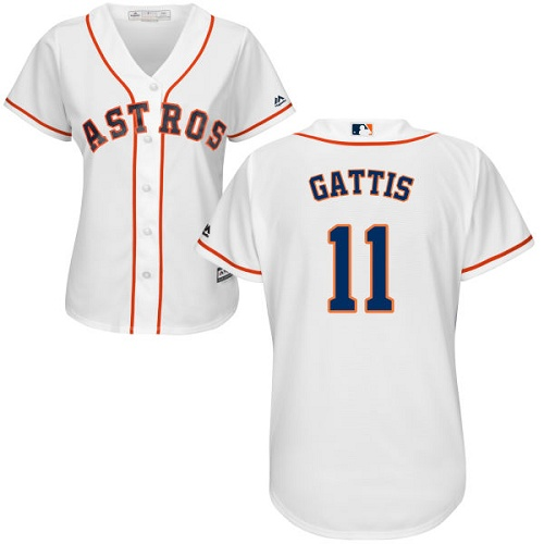 Women's Majestic Houston Astros #11 Evan Gattis Authentic White Home Cool Base MLB Jersey