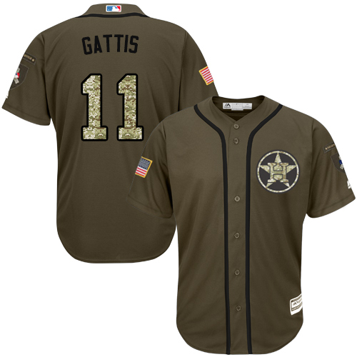 Youth Majestic Houston Astros #11 Evan Gattis Authentic Green Salute to Service MLB Jersey