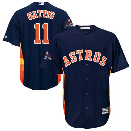 Youth Majestic Houston Astros #11 Evan Gattis Authentic Navy Blue Alternate 2017 World Series Champions Cool Base MLB Jersey