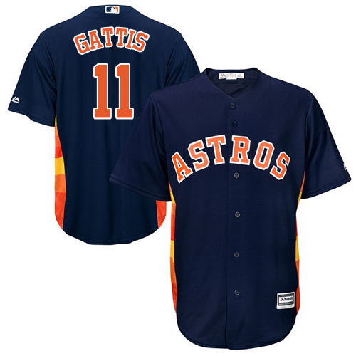 Youth Majestic Houston Astros #11 Evan Gattis Authentic Navy Blue Alternate Cool Base MLB Jersey