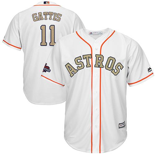 Youth Majestic Houston Astros #11 Evan Gattis Authentic White 2018 Gold Program Cool Base MLB Jersey