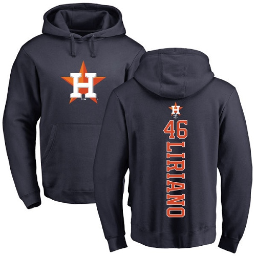 MLB Nike Houston Astros #46 Francisco Liriano Navy Blue Backer Pullover Hoodie