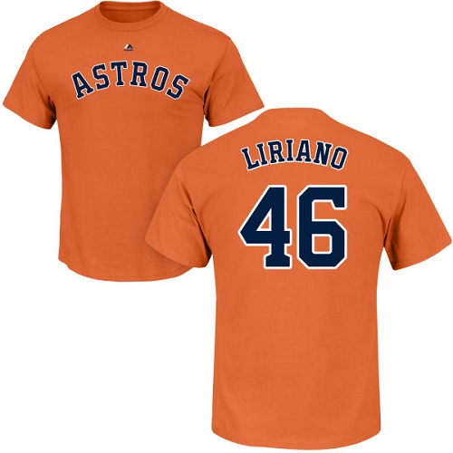 MLB Nike Houston Astros #46 Francisco Liriano Orange Name & Number T-Shirt
