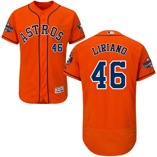Men's Majestic Houston Astros #46 Francisco Liriano Authentic Orange Alternate 2017 World Series Champions Flex Base MLB Jersey